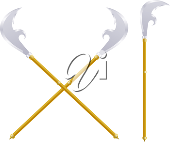 Stock Vector spears on a white background. Ancient weapon. Subject on a white background isolate. Medieval weapons infantryman.