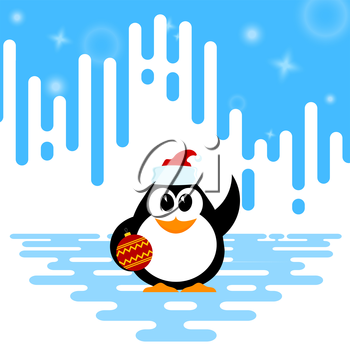 Vector illustration of a cute little baby penguin with Christmas ball and santa hat on winter 