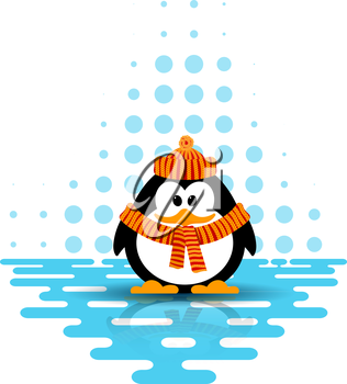 Vector illustration of a little penguin wearing a hat and a scarf on an abstract background. Cartoon style