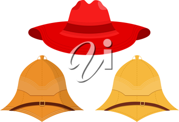 Vector illustration of hats on a white background. Isolated objects. Vector set of caps. Red hat, pith helmet, cork helmet.