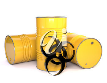 3D illustration of three yellow metal barrels with biological content and bacteriological danger  sign. Kontspet dangers of environmental pollution. Protection of Nature