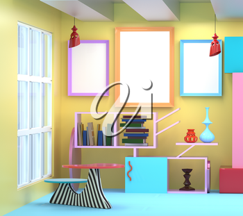 3D illustration of the interior in the style of Memphis. Frame, a shelf of books, a vase, a table lamp and a bright colored background. Mocap in Memphis style in trendy colors
