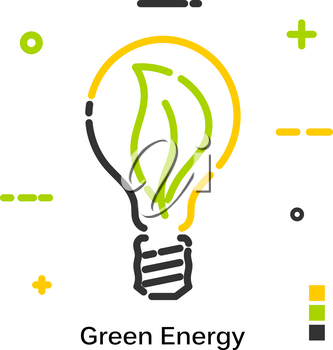Green energy. Light bulb burns green foliage. Line icon isolated on white background. Vector illustration.