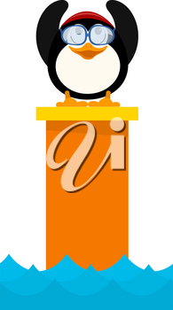 Cartoon colored illustration of a young penguin jumper in the water from a tower. A little penguin child in competitions before jumping. Vector illustration