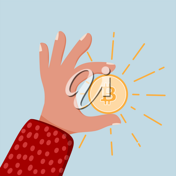 Color image of a male hand with bitcoin. Concepts of crypto-currencies. Vector illustration