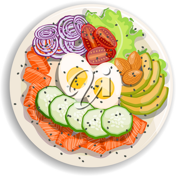 White round poke bowl with salmon, avocado,cucumber, egg, onion rings and tomato on a white background. Trend Hawaiian food. Vector illustration of healthy food.