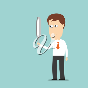 Serious businessman looking through magnifying glass, for research or exploration concept. Cartoon flat style