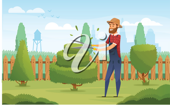 Gardener working in garden cartoon icon. Landscape designer in blue overalls pruning or trimming green tree and shrub with shears for gardening and landscape design profession design