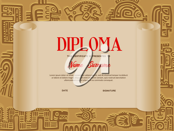 Kids certificate or diploma vector template of school education with background frame of aztec symbols. Kindergarten or preschool graduation and achievement award old scroll with mayan tribal totems