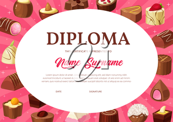 Diploma certificate vector template of kid education, school or kindergarten graduation with chocolate candies background. Student achievement award or appreciation certificate with chocolate desserts