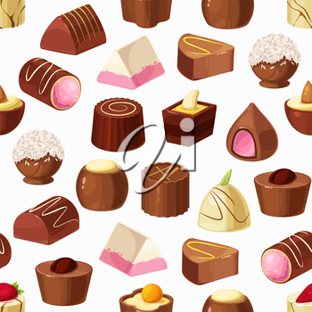 Chocolate candies seamless pattern of sweet food vector background. Truffle desserts, white, milk and dark chocolate with nut praline, caramel, cocoa powder and coffee cream, coconut and nougat