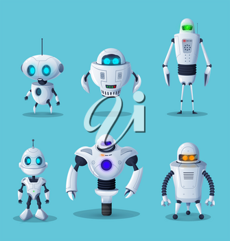 Robot cartoon characters of vector ai future technology and science design. Artificial intelligence machines, cyborgs or androids, humanoid robots with white metal body parts, buttons and cute faces