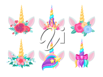 Unicorn heads with horns, flowers and ears. Vector cute magic horse animals, decorated with floral bouquets, rainbow, stars and gold crown, pink ribbon bow and colorful hair with glitter