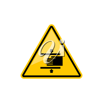 Beware crushing hand in machine warning accident sign isolated yellow triangle icon. Vector danger of injury triangular symbol, warning accident alert. Caution information, danger of crashing hands
