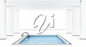 Royalty Free Clipart Image of an Indoor Swimming Pool