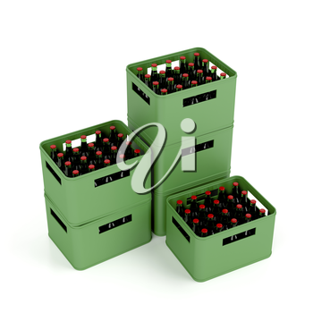 Crates with lager beer on white background