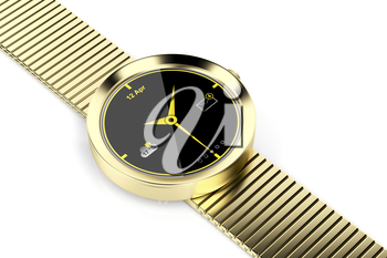 Gold plated smart watch on shiny white background