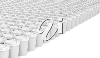 Multiple rows with paper coffee cups