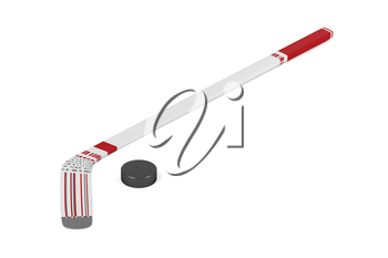 Ice hockey stick and puck on white background