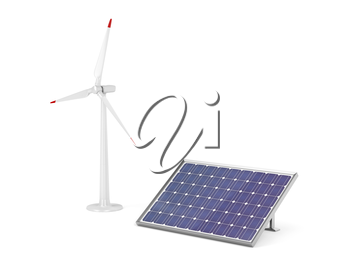 Solar panel and wind turbine for generating clean electricity