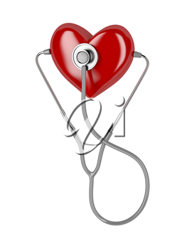 Concept image with stethoscope and red heart
