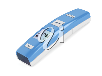 Modern non-contact infrared thermometer on white background