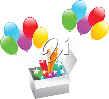 Royalty Free Clipart Image of Balloons in a Box With Stars