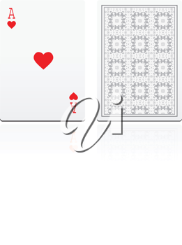 Royalty Free Clipart Image of an Ace of Hearts and a Quilted Pattern