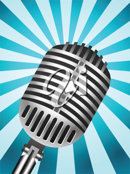 Royalty Free Clipart Image of a Microphone on a Striped Background