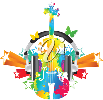 Royalty Free Clipart Image of a Violin With Stars and Butterflies