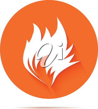 Fire icon on orange background. Vector illustration