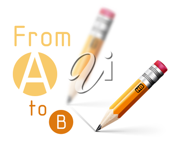 Realistic pencil vector illustration on white background