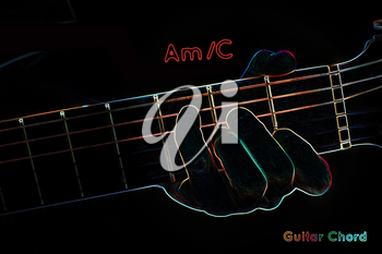 Guitar chord on a dark background, stylized illustration of an X-ray. Am/C chord