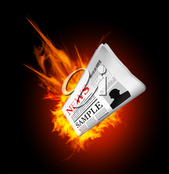 Hot news. Newspaper with fire. Vector illustration