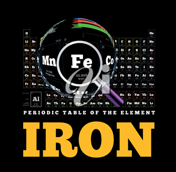 Periodic Table of the element. Iron, Fe. Vector illustration on black