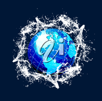 Blue vector world globe with water splash effects