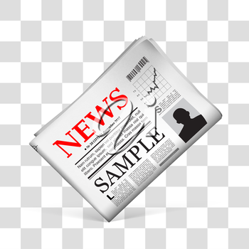 Blank newspaper with perforated edges and texture on checkered background.  Vector illustration