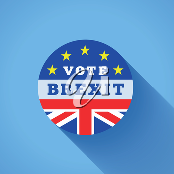 Brexit vector illustration with flags UK and EU on blue background