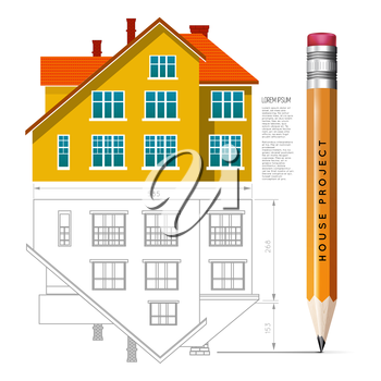 House icon and drawing with a pencil. Vector infographics for real estate and construction