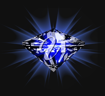 Diamond in front view. Vector illustration on dark blue background