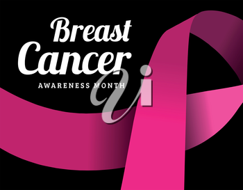 Breast cancer awareness symbol, isolated on dark background. Vector illustration