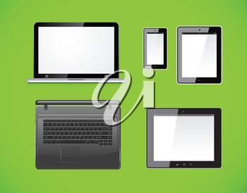 Laptop, tablet pc computer and mobile smartphone with a blank screen. Isolated on a green background. Vector illustration