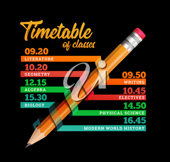 Timetable or timeline vector design template illustration with pencil on black background