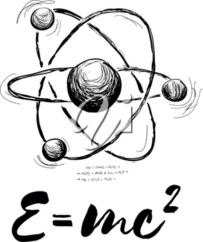 Atom drawn with formula. Vector abstract illustration on white background