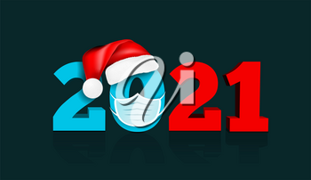 Happy New Year 2021. Figures under the hat of Santa Claus and medial face mask. Against coronavirus, covid-19. Vector illustration on dark blue background