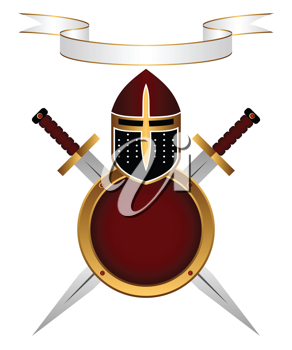 Royalty Free Clipart Image of Shields and Swords