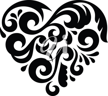 Abstract Heart isolated on white. This vector illustration can be used as a print on T-shirts, tattoo element or other uses