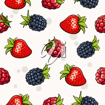 Seamless background with strawberry, blackberry, raspberry. Garden berries on light backdrop. It can be use as a pattern for fabric, web page background