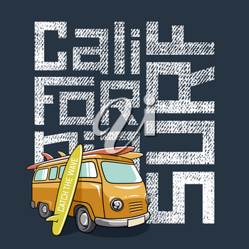 Surfing artwork with a hippie van and surfboards. Surf California textured lettering. T-shirt apparel print graphics. Original graphic Tee