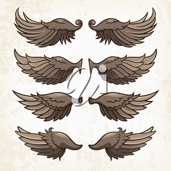 Vector wings on grunge background. Use as a print on T-shirts, tattoo element or other uses